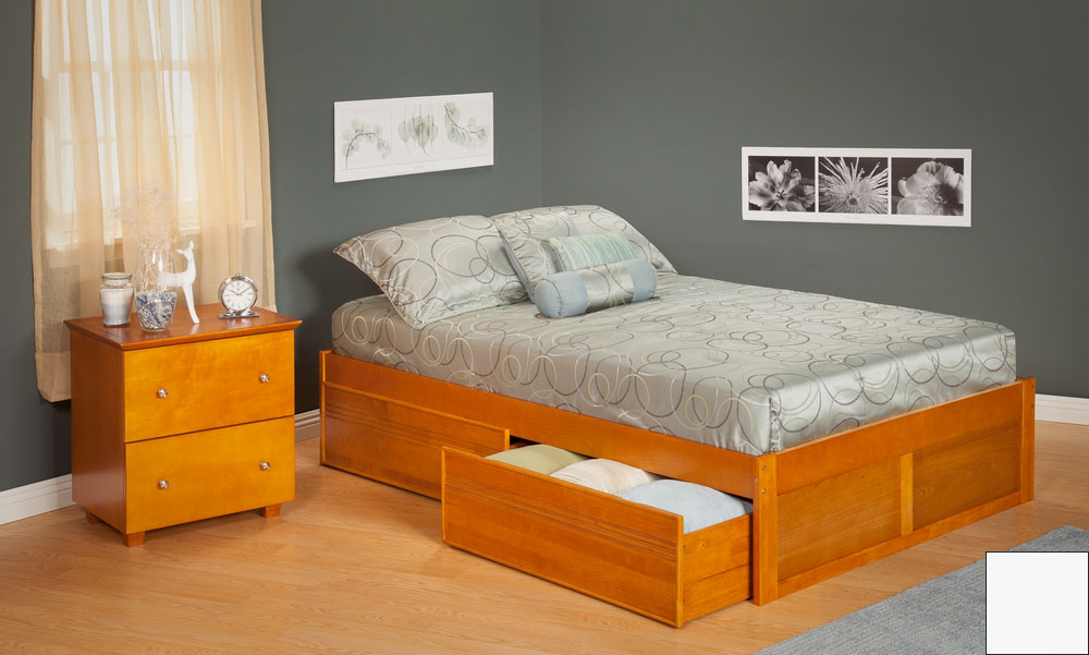 Urban Concord Full Size with Flat Panel Foot Board and Urban Bed Drawers in a White Finish