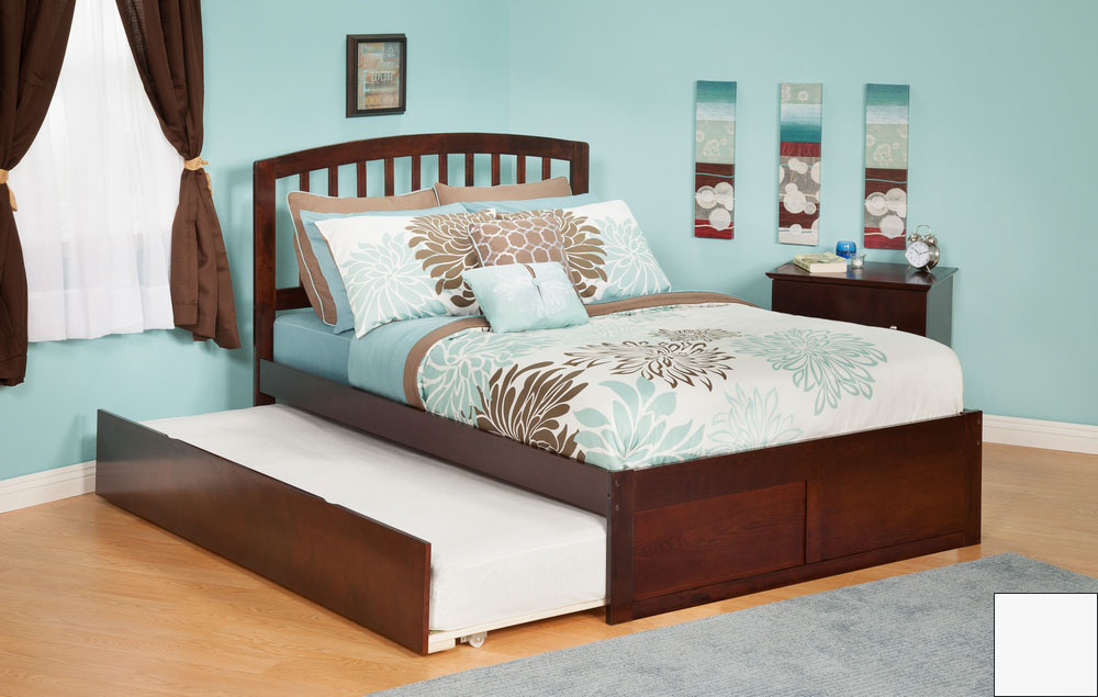 Atlantic Furniture AR8822012 Richmond Twin Bed with Flat Panel Footboard and Urban Trundle in a White Finish