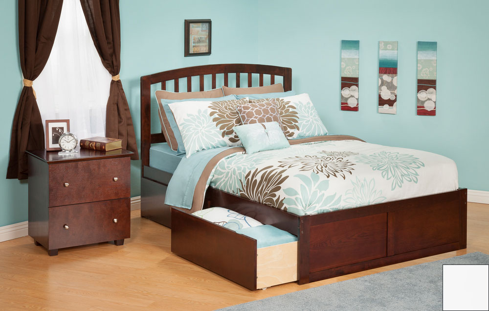 Atlantic Furniture AR8822112 Richmond Twin Bed with Flat Panel Footboard and Urban Bed Drawers in a White Finish