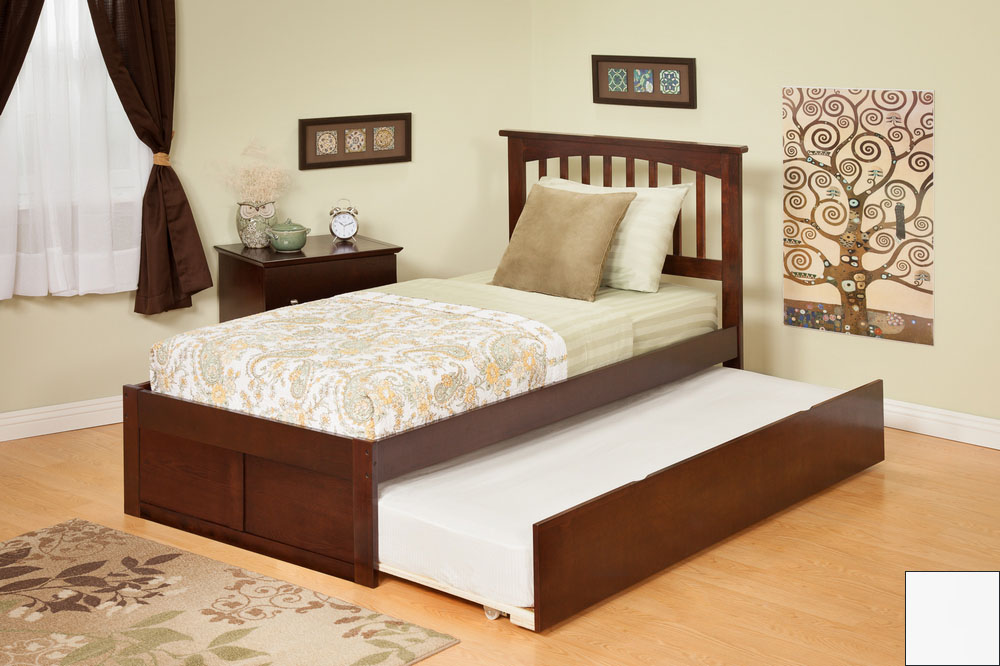 Atlantic Furniture AR8722012 Mission Twin Bed with Flat Panel Footboard and Urban Trundle in a White Finish