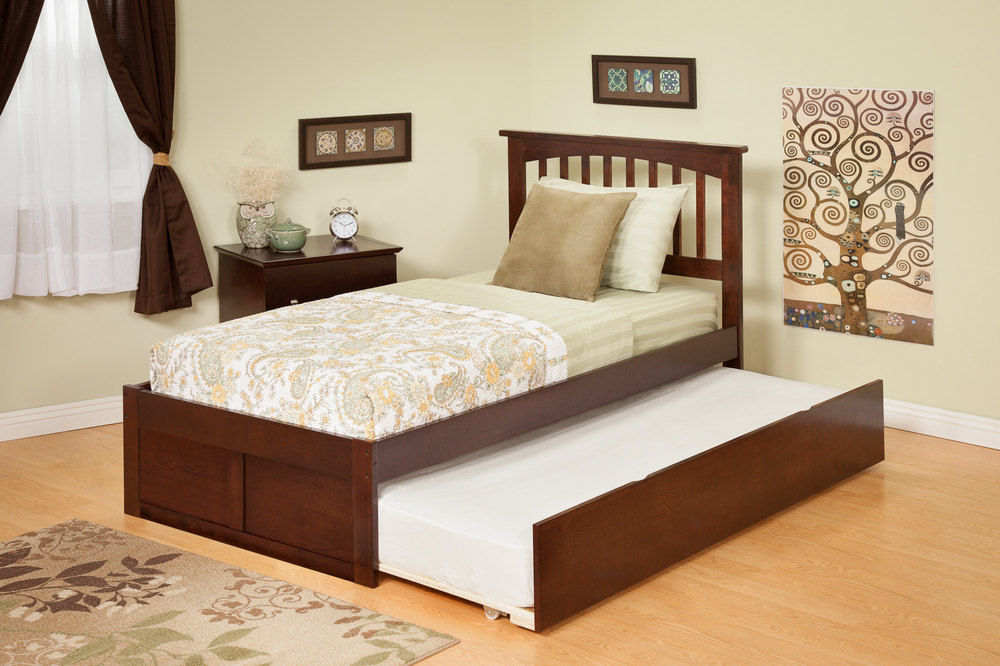 Atlantic Furniture AR8722014 Mission Twin Bed with Flat Panel Footboard and Urban Trundle in an Antique Walnut Finish