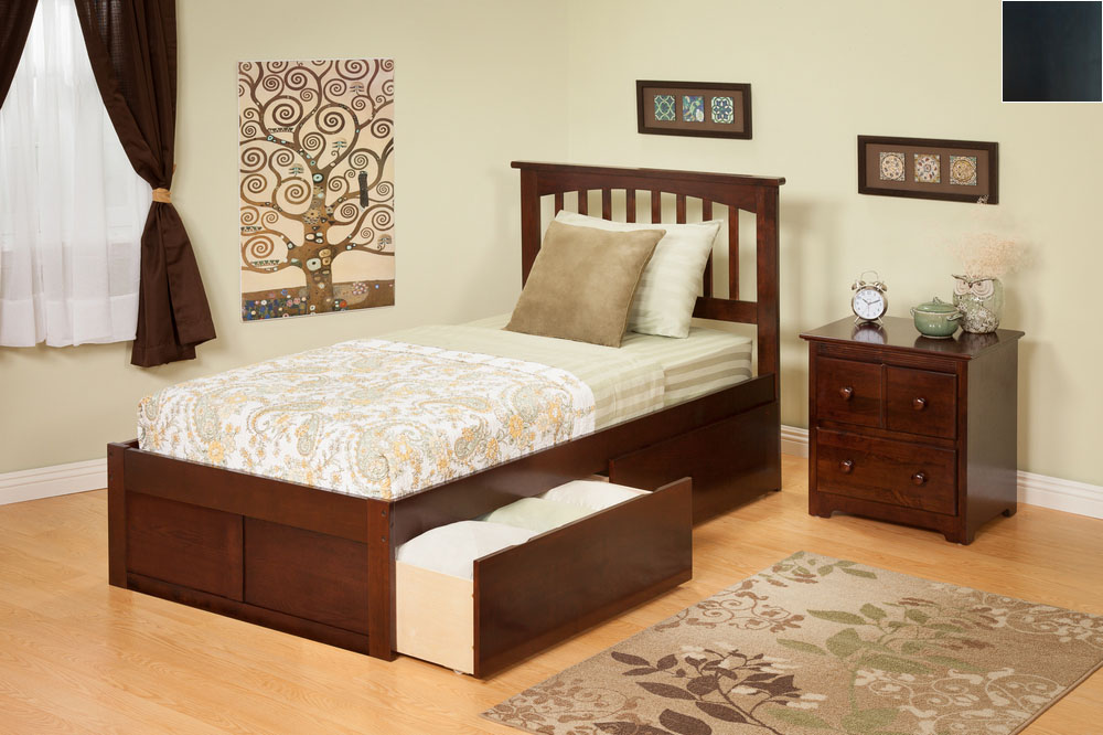Atlantic Furniture AR8722111 Mission Twin Bed with Flat Panel Footboard and Urban Bed Drawers in an Espresso Finish