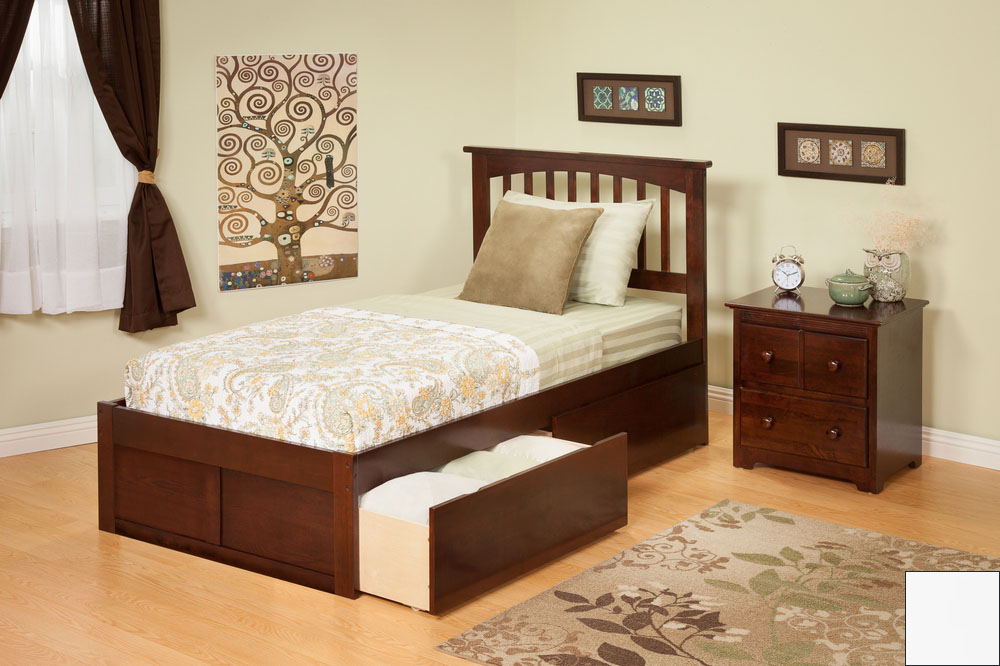 Atlantic Furniture AR8722112 Mission Twin Bed with Flat Panel Footboard and Urban Bed Drawers in a White Finish