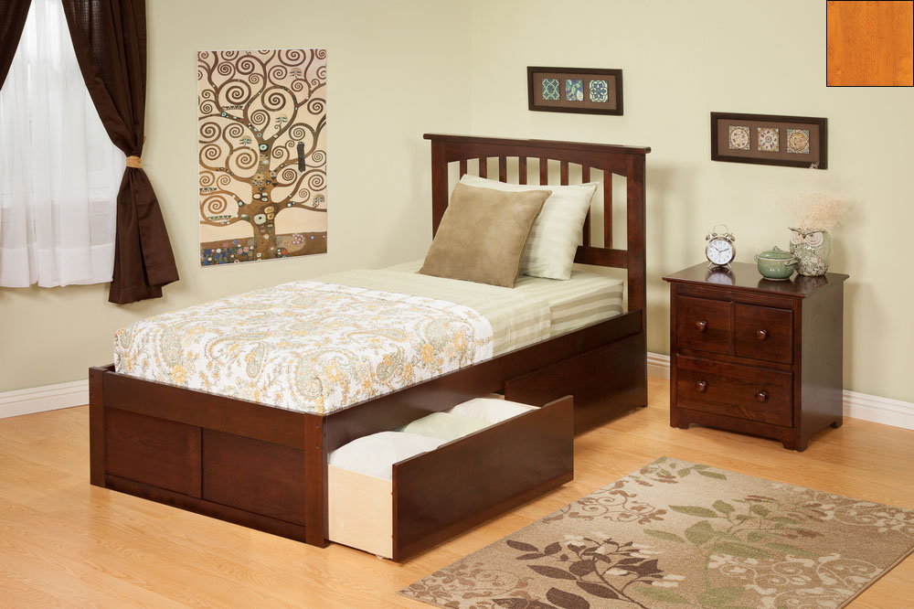 Atlantic Furniture AR8722117 Mission Twin Bed with Flat Panel Footboard and Urban Bed Drawers in a Caramel Latte Finish