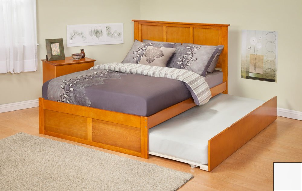 Atlantic Furniture AR8622012 Madison Twin Bed with Flat Panel Footboard and Urban Trundle in a White Finish