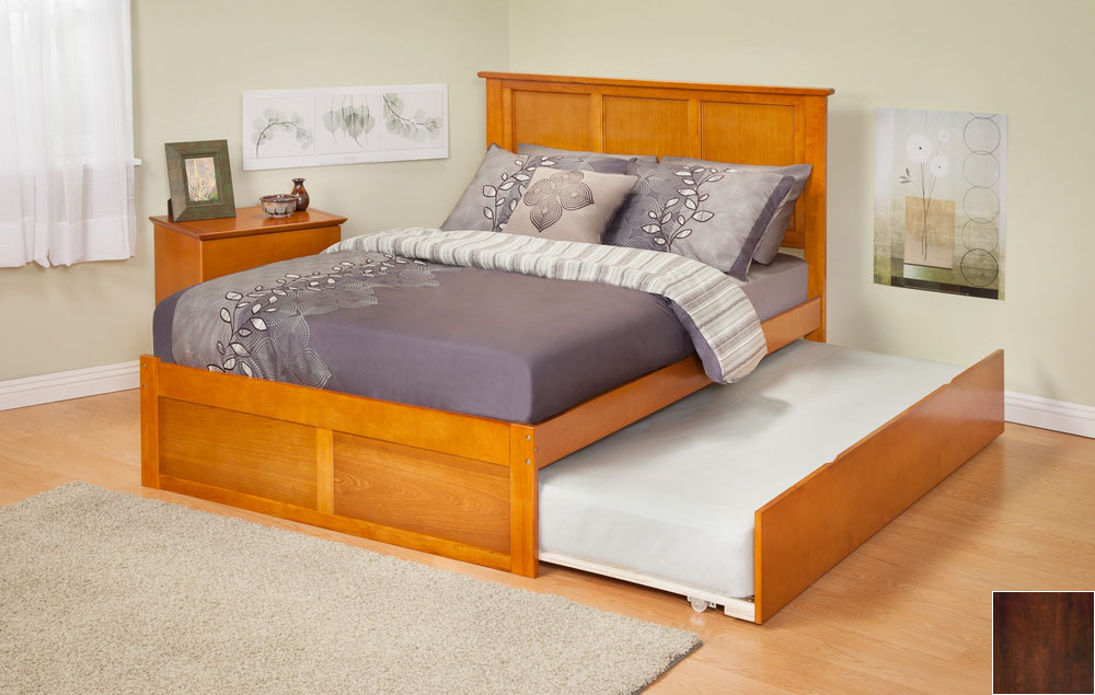Atlantic Furniture AR8622014 Madison Twin Bed with Flat Panel Footboard and Urban Trundle in an Antique Walnut Finish