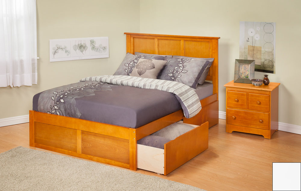 Atlantic Furniture AR8622112 Madison Twin Bed with Flat Panel Footboard and Urban Bed Drawers in a White Finish