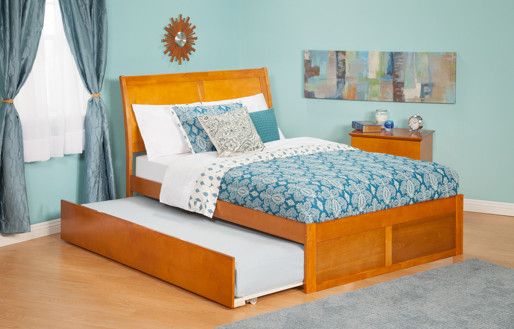 Atlantic Furniture AR8922017 Portland Twin Bed with Flat Panel Footboard and Urban Trundle in a Caramel Latte Finish