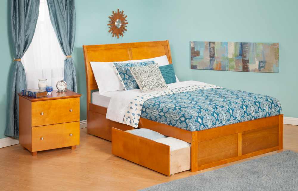 Atlantic Furniture AR8922117 Portland Twin Bed with Flat Panel Footboard and Urban Bed Drawers in a Caramel Latte Finish