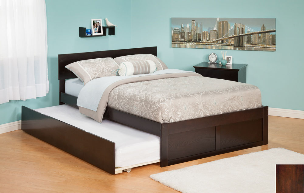 Atlantic Furniture AR8132014 Orlando Full Bed with Flat Panel Foot Board and Urban Trundle Bed in an Antique Walnut Finish