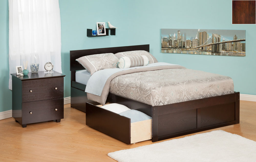 Orlando Full Bed with Flat Panel Foot Board and Urban Bed Drawers in an Antique Walnut Finish