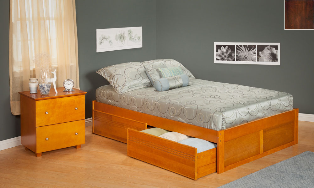 Urban Concord Queen Size with a Flat Panel Foot Board and Urban Bed Drawers in an Antique Walnut Finish