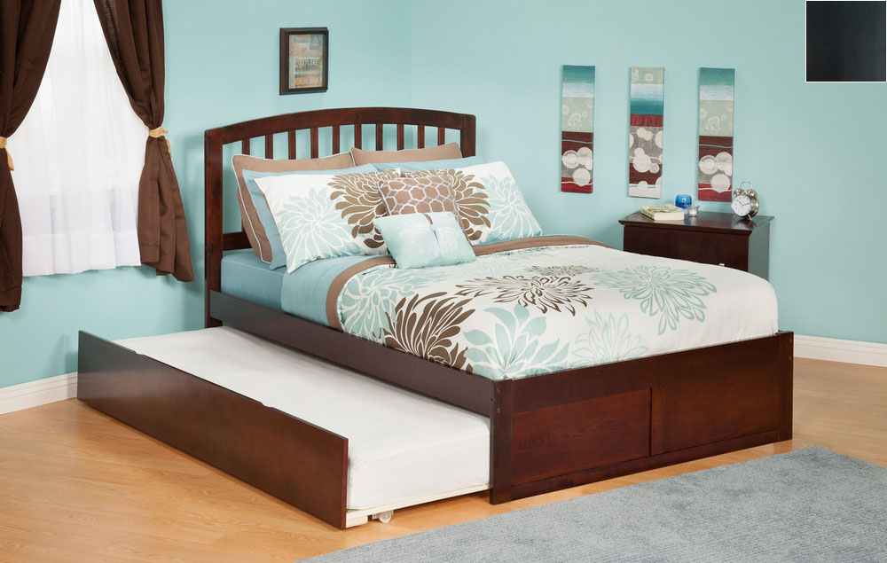 Atlantic Furniture AR8832011 Richmond Full Bed with Flat Panel Footboard and Urban Trundle in an Espresso Finish