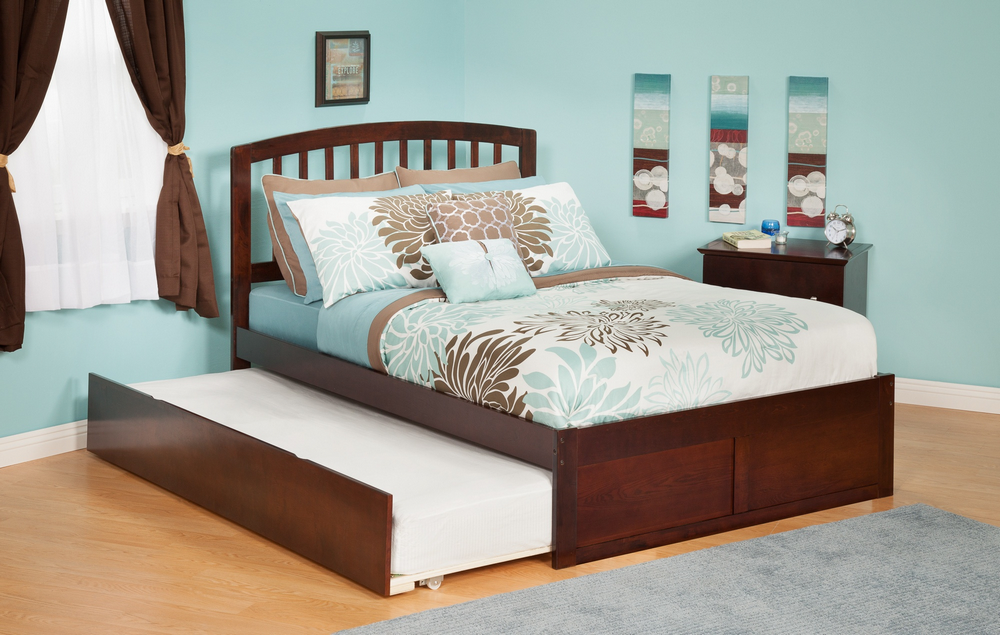 Atlantic Furniture AR8832014 Richmond Full Bed with Flat Panel Footboard and Urban Trundle in an Antique Walnut Finish