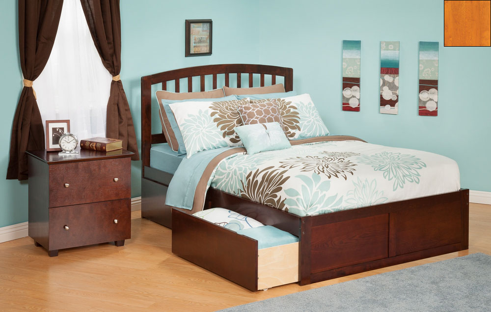 Atlantic Furniture AR8832117 Richmond Full Bed with Flat Panel Footboard and Urban Bed Drawers in a Caramel Latte Finish