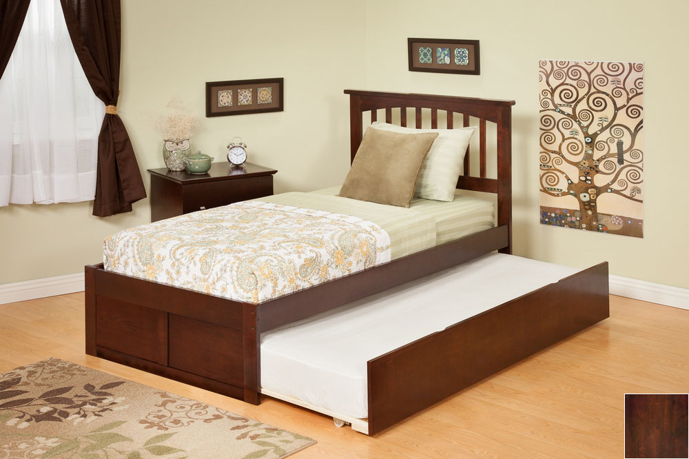 Atlantic Furniture AR8732014 Mission Full Bed with Flat Panel Footboard and Urban Trundle in an Antique Walnut Finish