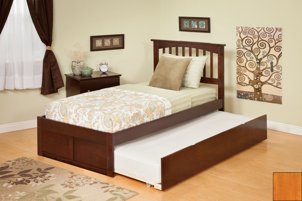Atlantic Furniture AR8732017 Mission Full Bed with Flat Panel Footboard and Urban Trundle in a Caramel Latte Finish