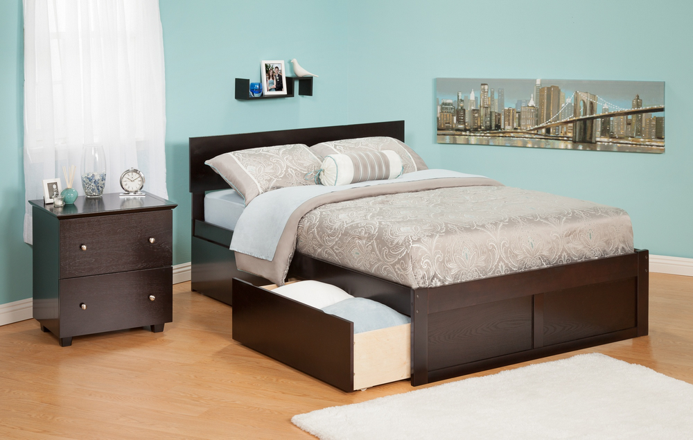 Atlantic Furniture AR8142111 Orlando Queen Bed with Flat Panel Foot Board and Urban Bed Drawers in an Espresso Finish