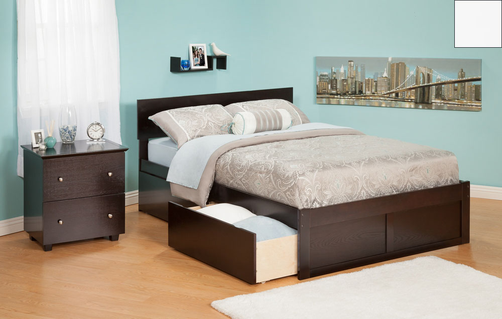 Atlantic Furniture AR8142112 Orlando Queen Bed with Flat Panel Foot Board and Urban Bed Drawers in a White Finish