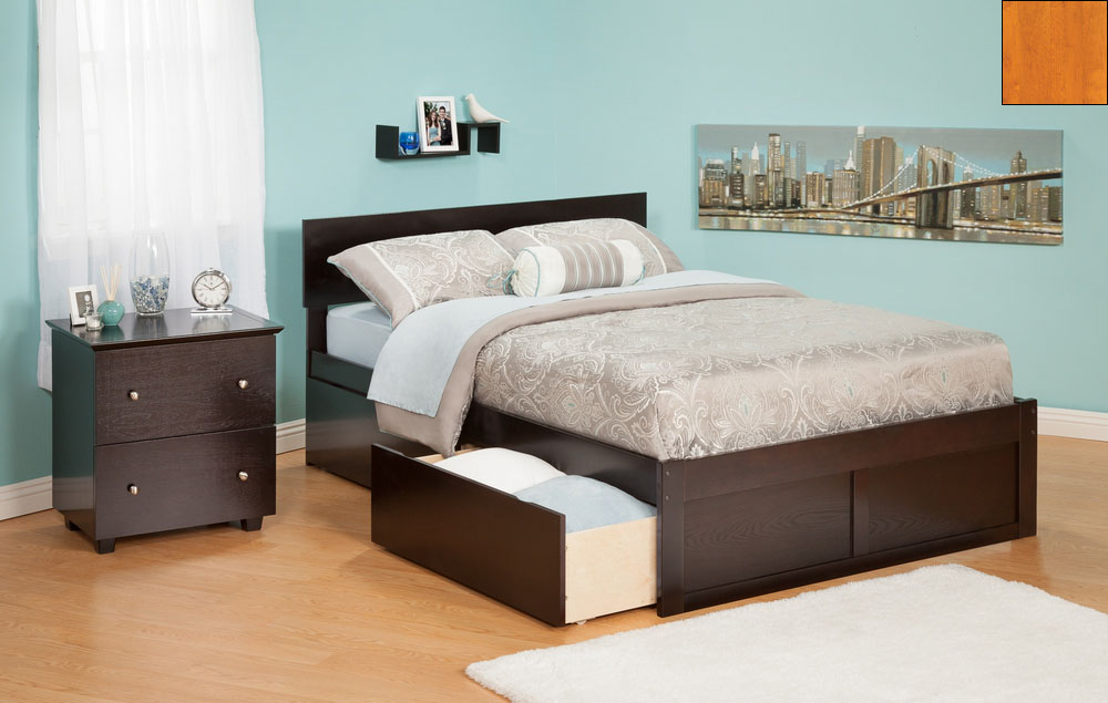 Atlantic Furniture AR8142117 Orlando Queen Bed with Flat Panel Foot Board and Urban Bed Drawers in a Caramel Latte Finish