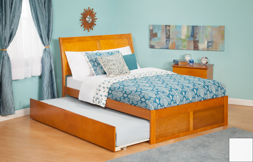 Atlantic Furniture AR8932012 Portland Full Bed with Flat Panel Footboard and Urban Trundle in a White Finish