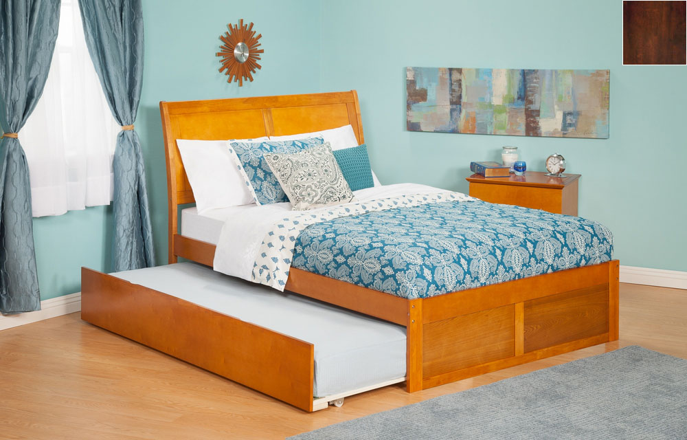 Atlantic Furniture AR8932014 Portland Full Bed with Flat Panel Footboard and Urban Trundle in an Antique Walnut Finish