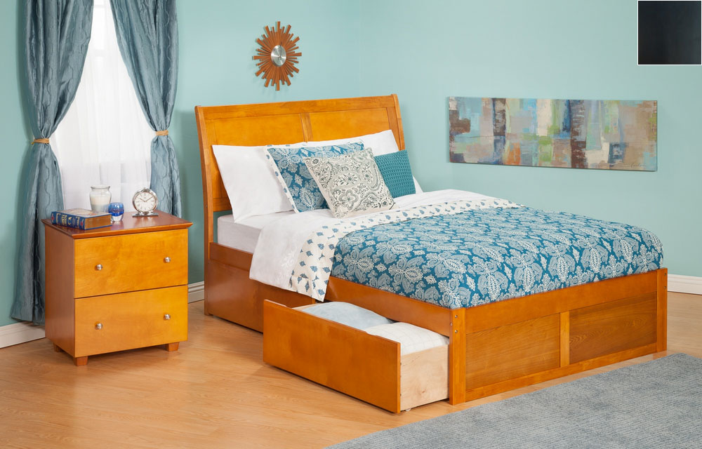 Atlantic Furniture AR8932111 Portland Full Bed with Flat Panel Footboard and Urban Bed Drawers in an Espresso Finish