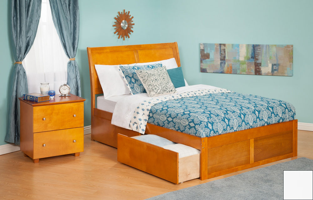 Atlantic Furniture AR8932112 Portland Full Bed with Flat Panel Footboard and Urban Bed Drawers in a White Finish