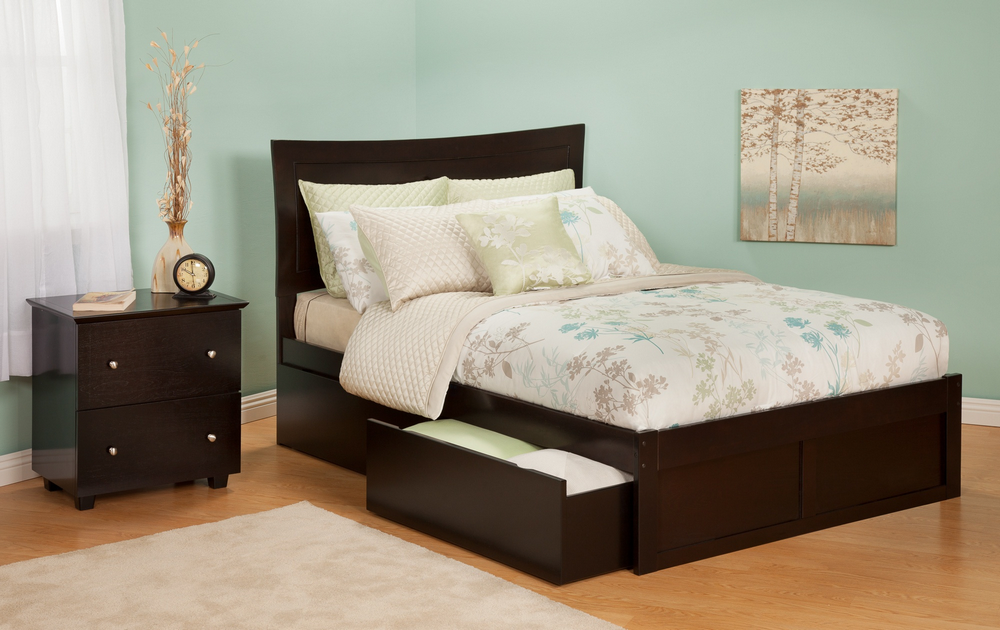 Atlantic Furniture AR9032111 Metro Full Bed with Flat Panel Footboard and Urban Bed Drawers in an Espresso Finish