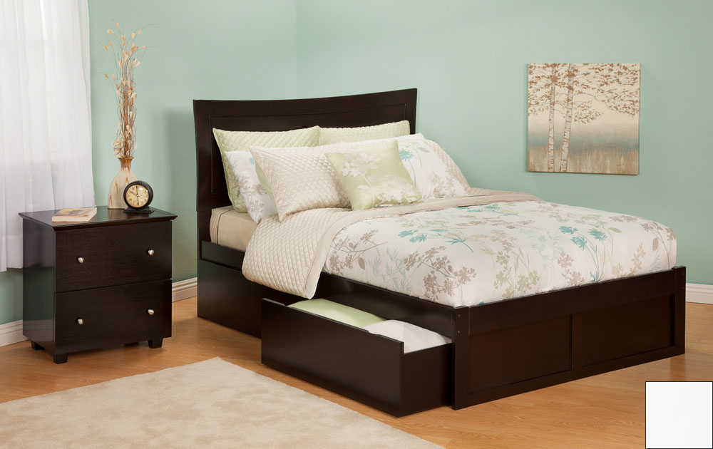 Atlantic Furniture AR9032112 Metro Full Bed with Flat Panel Footboard and Urban Bed Drawers in a White Finish