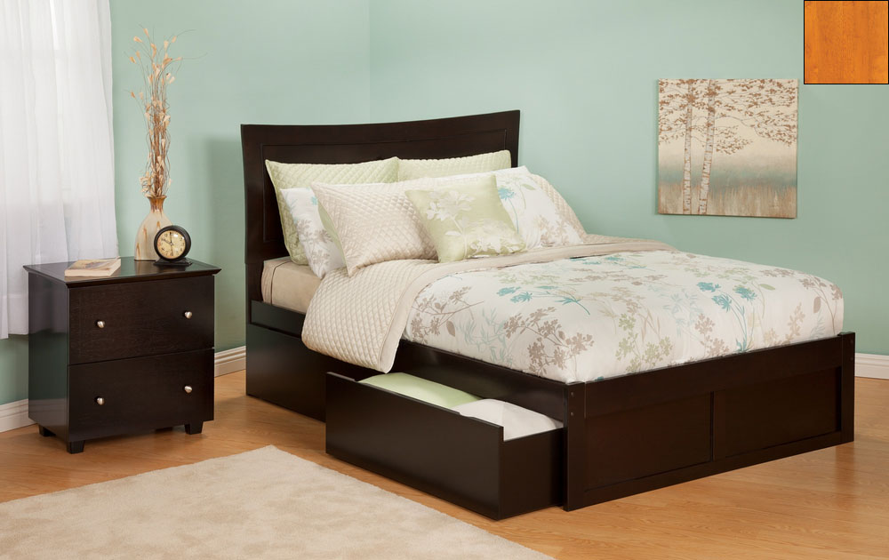 Atlantic Furniture AR9032117 Metro Full Bed with Flat Panel Footboard and Urban Bed Drawers in a Caramel Latte Finish