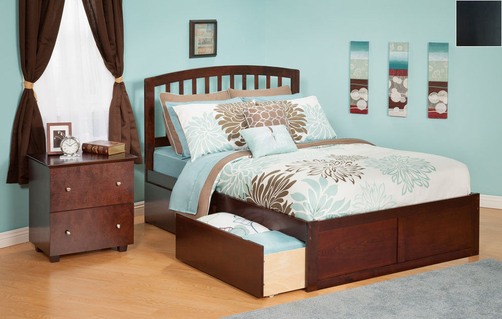 Atlantic Furniture AR8842111 Richmond Queen Bed with Flat Panel Footboard and Urban Bed Drawers in an Espresso Finish