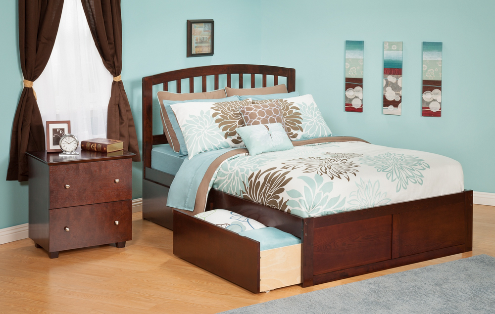 Atlantic Furniture AR8842114 Richmond Queen Bed with Flat Panel Footboard and Urban Bed Drawers in an Antique Walnut Finish
