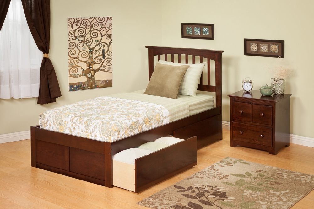 Atlantic Furniture AR8742114 Mission Queen Bed with Flat Panel Footboard and Urban Bed Drawers in an Antique Walnut Finish