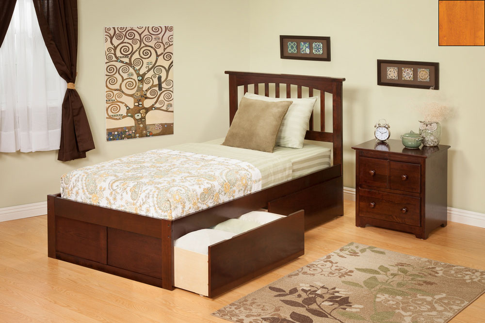 Atlantic Furniture AR8742117 Mission Queen Bed with Flat Panel Footboard and Urban Bed Drawers in a Caramel Latte Finish