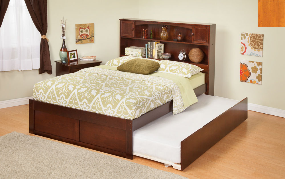 Atlantic Furniture AR8522017 Newport Bookcase Bed Twin Size with a Flat Panel Foot Board and Urban Trundle Bed in a Caramel Latte Finish