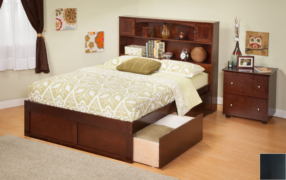Atlantic Furniture AR8522111 Newport Bookcase Bed Twin Size with a Flat Panel Foot Board and Urban Bed Drawers in an Espresso Finish