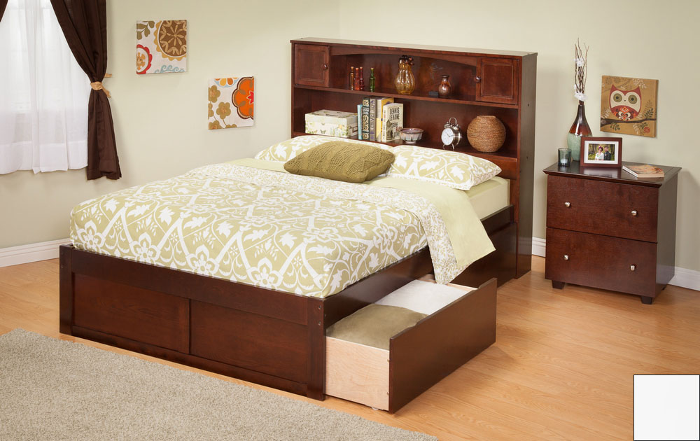 Atlantic Furniture AR8522112 Newport Bookcase Bed Twin Size with a Flat Panel Foot Board and Urban Bed Drawers in a White Finish