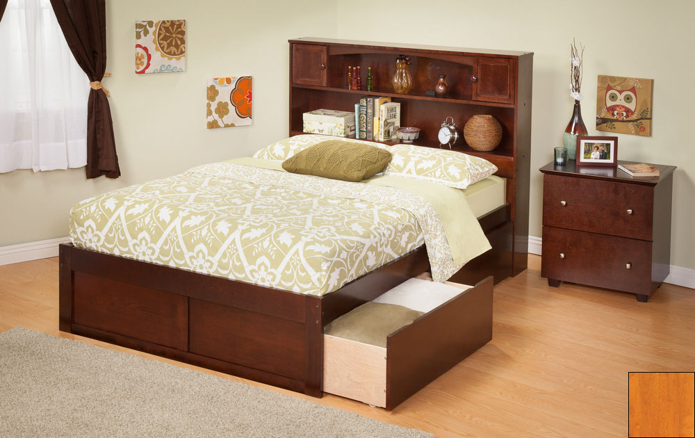 Atlantic Furniture AR8522117 Newport Bookcase Bed Twin Size with a Flat Panel Foot Board and Urban Bed Drawers in a Caramel Latte Finish