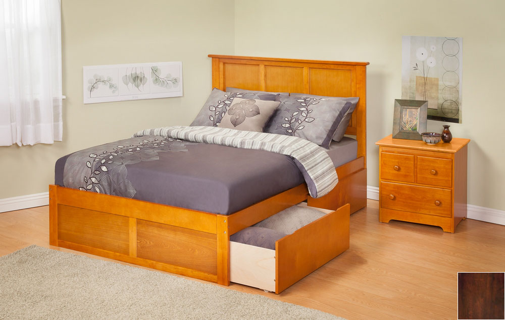 Atlantic Furniture AR8642114 Madison Queen Bed with Flat Panel Footboard and Urban Bed Drawers in an Antique Walnut Finish