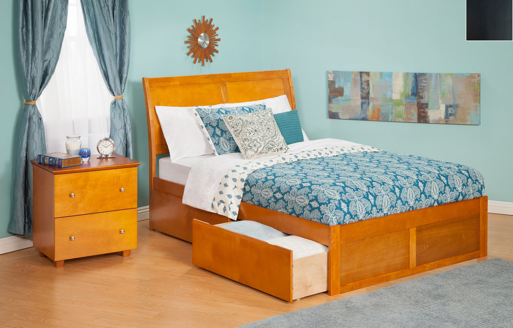 Atlantic Furniture AR8942111 Portland Queen Bed with Flat Panel Footboard and Urban Bed Drawers in an Espresso Finish