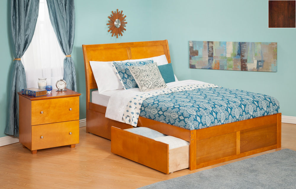 Atlantic Furniture AR8942114 Portland Queen Bed with Flat Panel Footboard and Urban Bed Drawers in an Antique Walnut Finish
