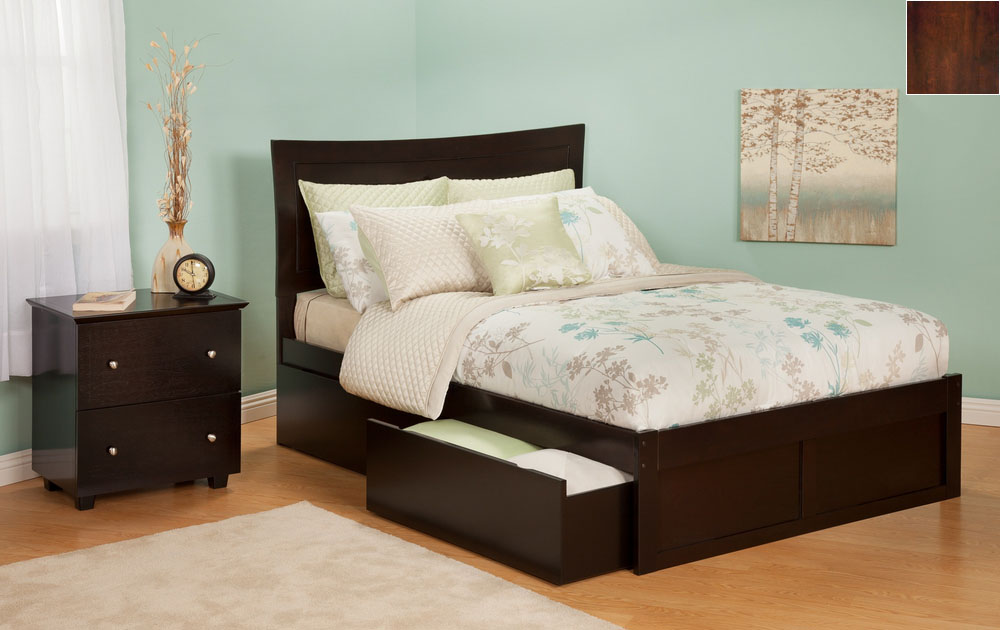 Atlantic Furniture AR9042114 Metro Queen Bed with Flat Panel Footboard and Urban Bed Drawers in an Antique Walnut Finish