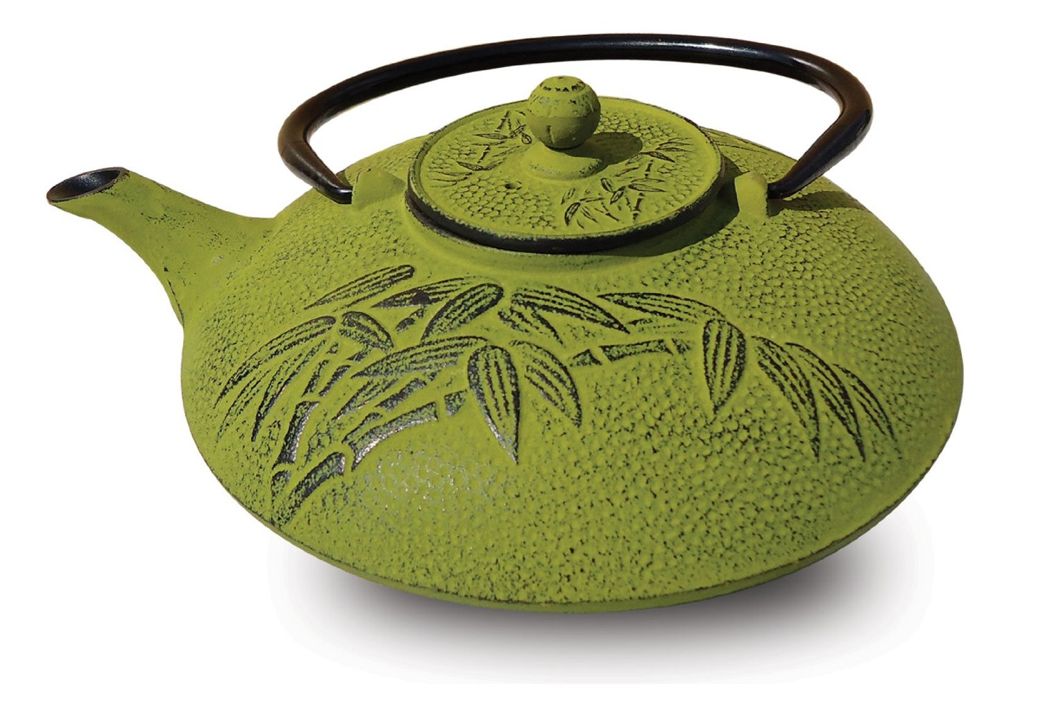 Old Dutch 005MO Moss Green Cast Iron Positivity Teapot  26 Oz.