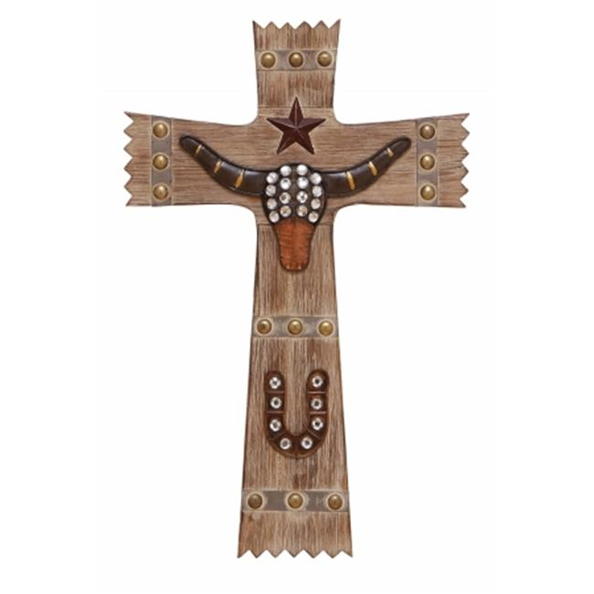 Woodland Import 53040 Wood Metal Wall Cross in Rustic Charm with Small Metal Nails