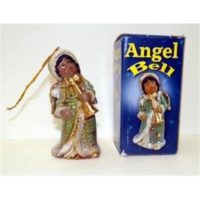 Bulk Buys Glazed Porcelain African American Angel Bell Ornaments - Case of 48