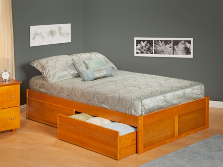 Image of Atlantic Furniture AR8022117 Urban Concord Twin Size with Flat Panel Foot Board and Urban Bed Drawers in a Caramel Latte Finish
