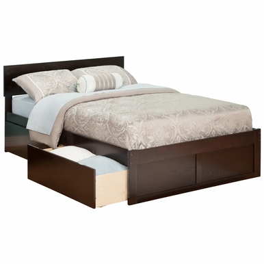 Orlando Twin Bed with Flat Panel Foot Board and Urban Bed Drawers in an Espresso Finish