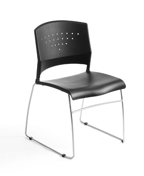 Boss B1400-BK-2 Boss Black Stack Chair With Chrome Frame 2 Pcs Pack
