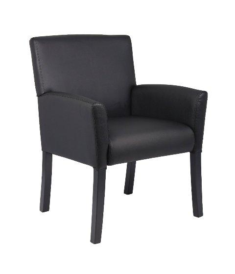 Boss B639-BK Boss Executive Box Arm Chair with Mahogany Base